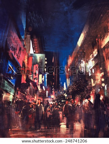 colorful painting of night street.illustration
