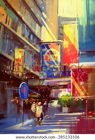 colorful painting of urban city.illustration - stock photo
