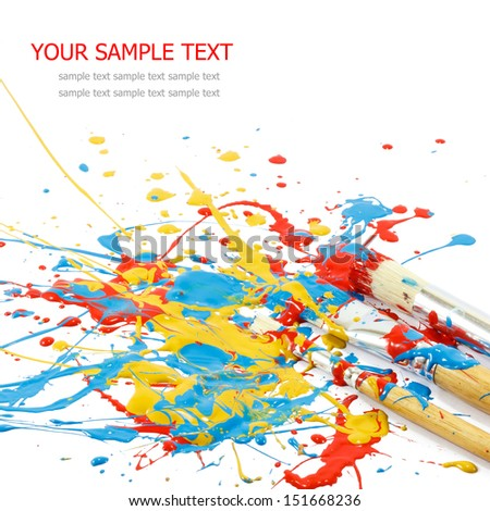 Colorful paints and artist brushes - stock photo