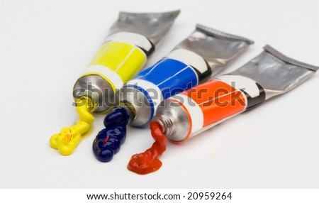colorful paints squeezed from tubes - stock photo