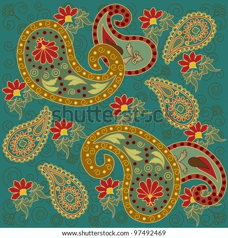 Colorful Paisley in Green Background - stock photo