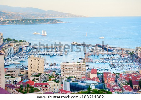 Colorful panorama of Monaco ( Monte Carlo) port  at sunset - stock photo
