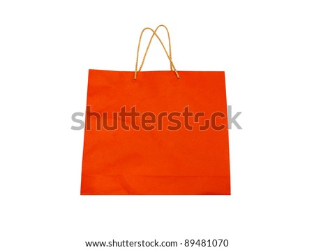 Colorful paper bag ready for shopping, isolated on white background