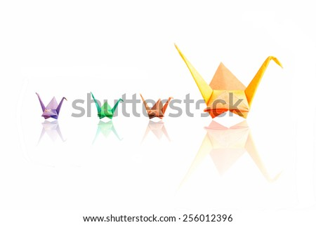 Colorful paper birds family on white background. - stock photo