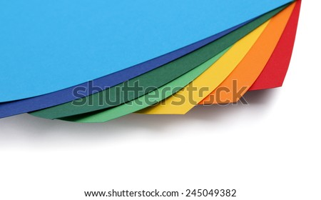 Colorful paper card edges set isolated on white background - stock photo