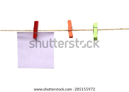 colorful paper cards hung on rope isolated on white background