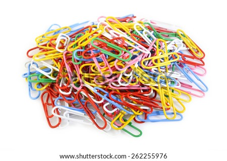 colorful paper clip on white background - stock photo