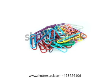 colorful paper clips isolated in white background