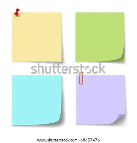 colorful paper note on  isolated. - stock photo