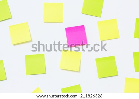 Colorful paper note on the wall