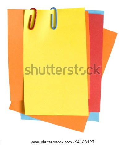 colorful paper notes with clips - stock photo