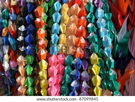 Colorful paper origami garlands, Japan - stock photo