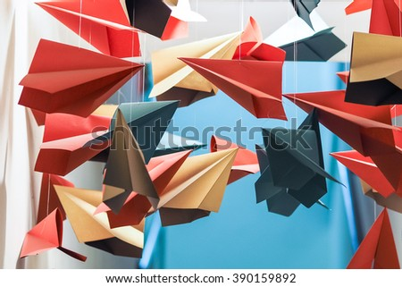 Colorful Paper Planes - stock photo
