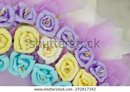 colorful paper roses flower wreath  for use in Thai funeral - stock photo
