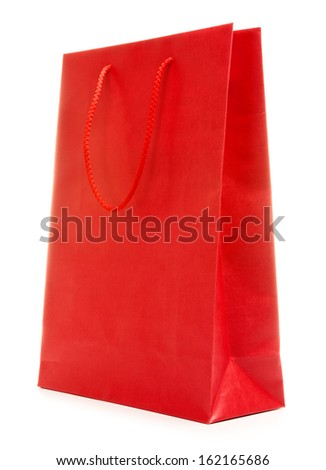 colorful paper shopping bag, isolated on white
