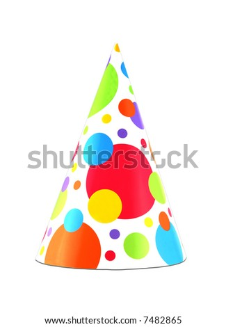 Colorful party hat isolated on white background - stock photo