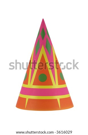 Colorful party hat with interesting geometric shapes - stock photo
