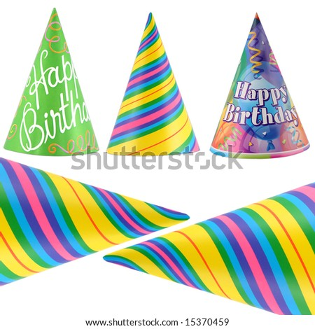 Colorful party hats isolated on white background