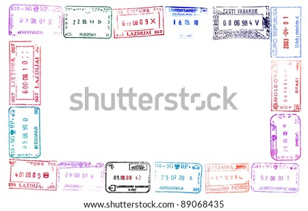 Colorful Passport Stamps Frame Your Design Stock Photo (Safe to Use ...