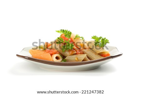 colorful pasta with tomato sauce on a plate. Isolated - stock photo