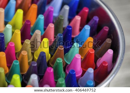 Colorful pastel crayons, closeup - stock photo