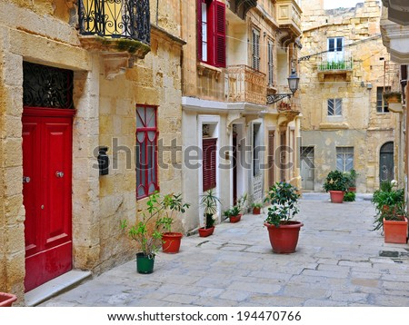 Colorful patio, a typical mediterranean courtyard. - stock photo