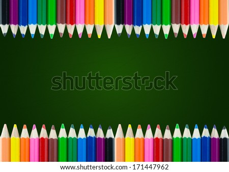 colorful pencil color frame border background with chalk board