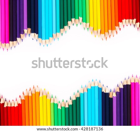 Colorful pencil crayons, Back to School concept - stock photo
