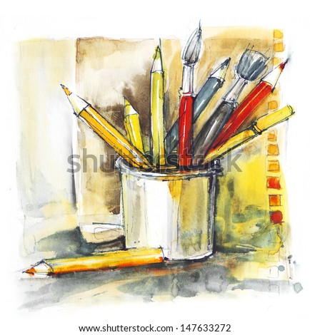 colorful pencils and brushes in a can, watercolor, back to school - stock photo