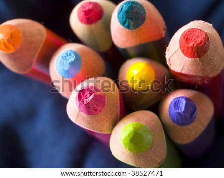 colorful pencils blured