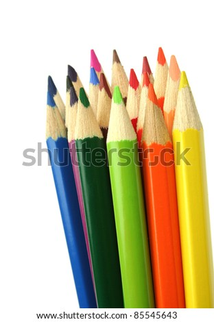 Colorful pencils close-up on white background with shallow dof. - stock photo