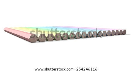 Colorful pencils in pastel colors - back view - stock photo