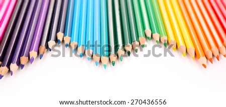 Colorful pencils, isolated on white - stock photo
