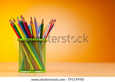 Colorful pencils on the background - stock photo