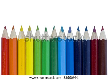 Colorful pencils on white isolated background - stock photo