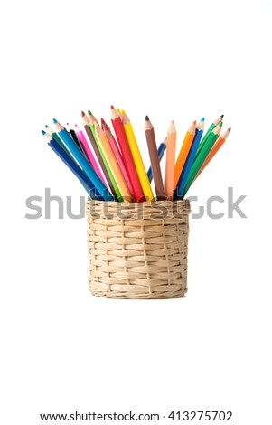 Colorful pencils pot on white background - stock photo