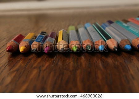 Colorful pencils prepared for drawing.