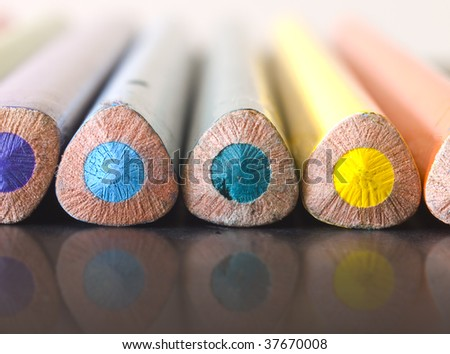 colorful pencils reflecting