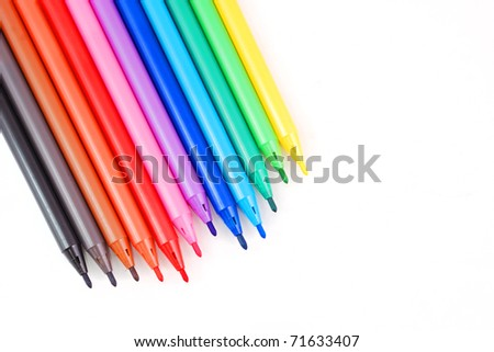 Colorful pens isolated - stock photo