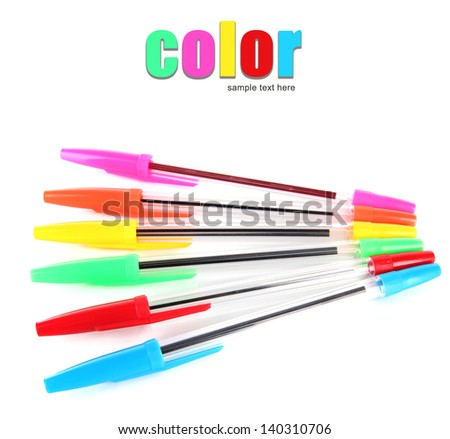 Colorful pens isolated on white - stock photo