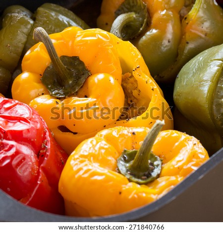 colorful peppers pan - stock photo