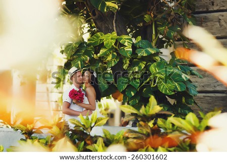 colorful photo of brides in beautiful sunny day in Cuba - stock photo