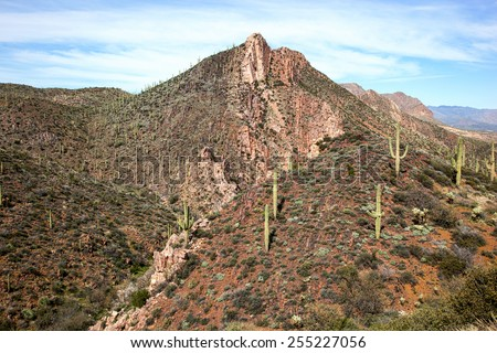 Colorful Picketpost Mountain, east of Phoenix and near the town of Superior, Arizona - stock photo