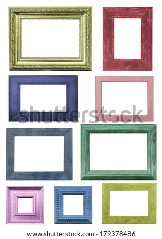 colorful picture frames. Isolated over white background with clipping path  - stock photo