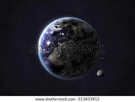 Colorful picture represents Earth and Moon. Elements of this image furnished by NASA. - stock photo