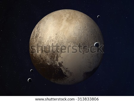 Colorful picture represents Pluto and its moons. Elements of this image furnished by NASA. - stock photo