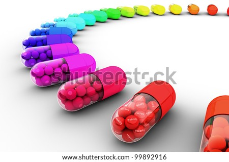 Colorful pill filled with text, message of healthy - stock photo