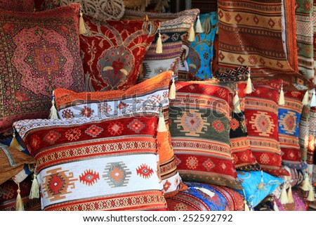 Colorful pillows at street market in Sarajevo , Bosnia and Herzegovina - stock photo