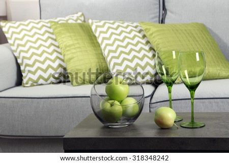 Colorful pillows on sofa, close-up - stock photo