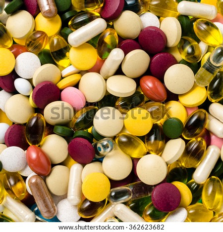 Colorful pills background - stock photo